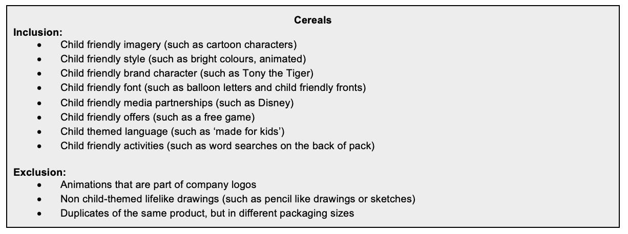 Inclusion criteria of the breakfast cereals survey